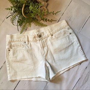 Ann Taylor Loft Shorts 6 28 Stripe Jean Fringe EUC